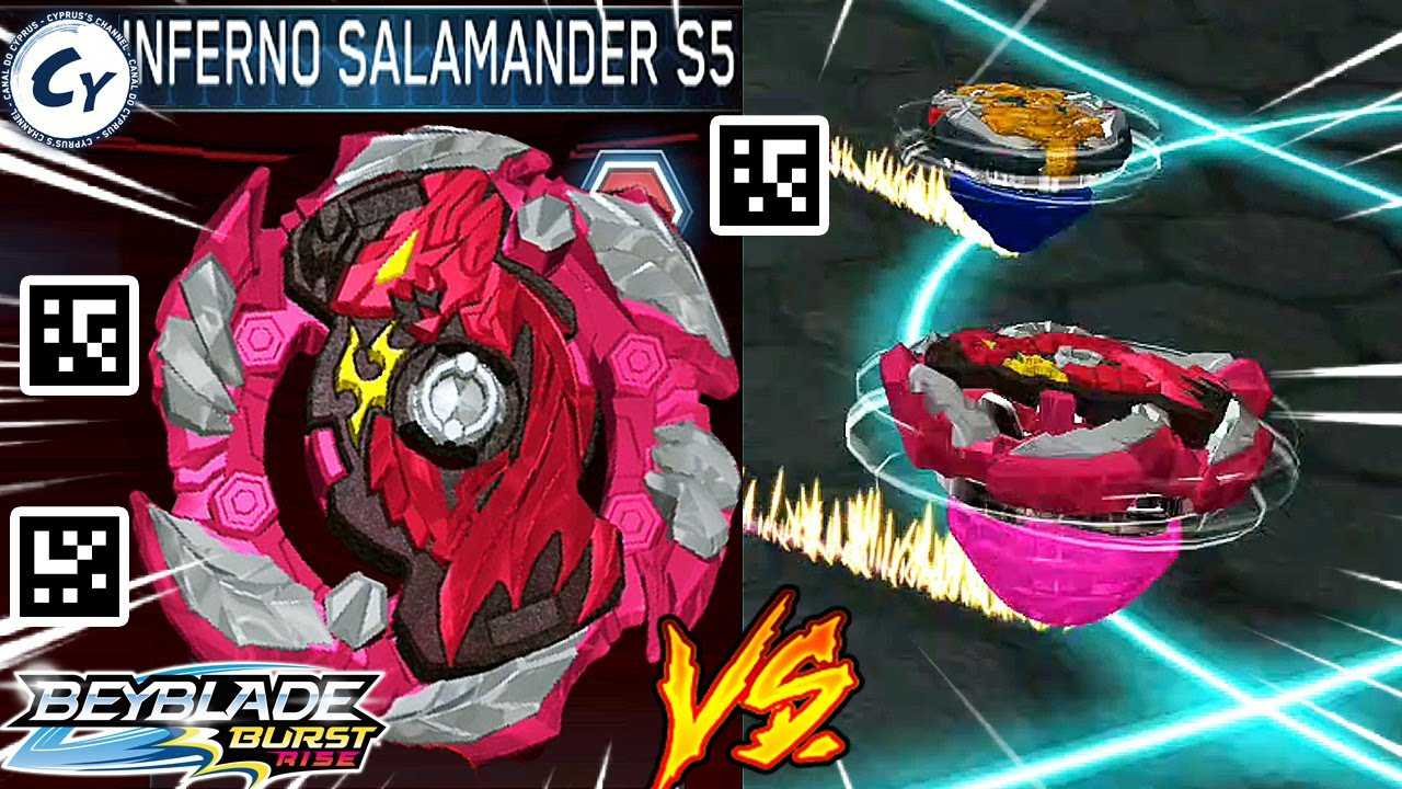 Inferno Salamander S5 Gameplay Qr Code Salamander S4 Beyblade Burst Rise Zankye Collab Youtube
