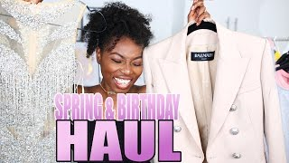 SPRING HAUL & WHAT I GOT FOR MY BIRTHDAY| BALMAIN, LV, TOPSHOP, ASOS & RIVER ISLAND