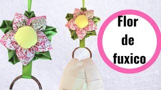 Porta Pano de Prato com Flor de Fuxico