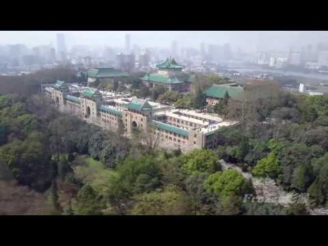 Aerial Wuhan University at Sakura Festival