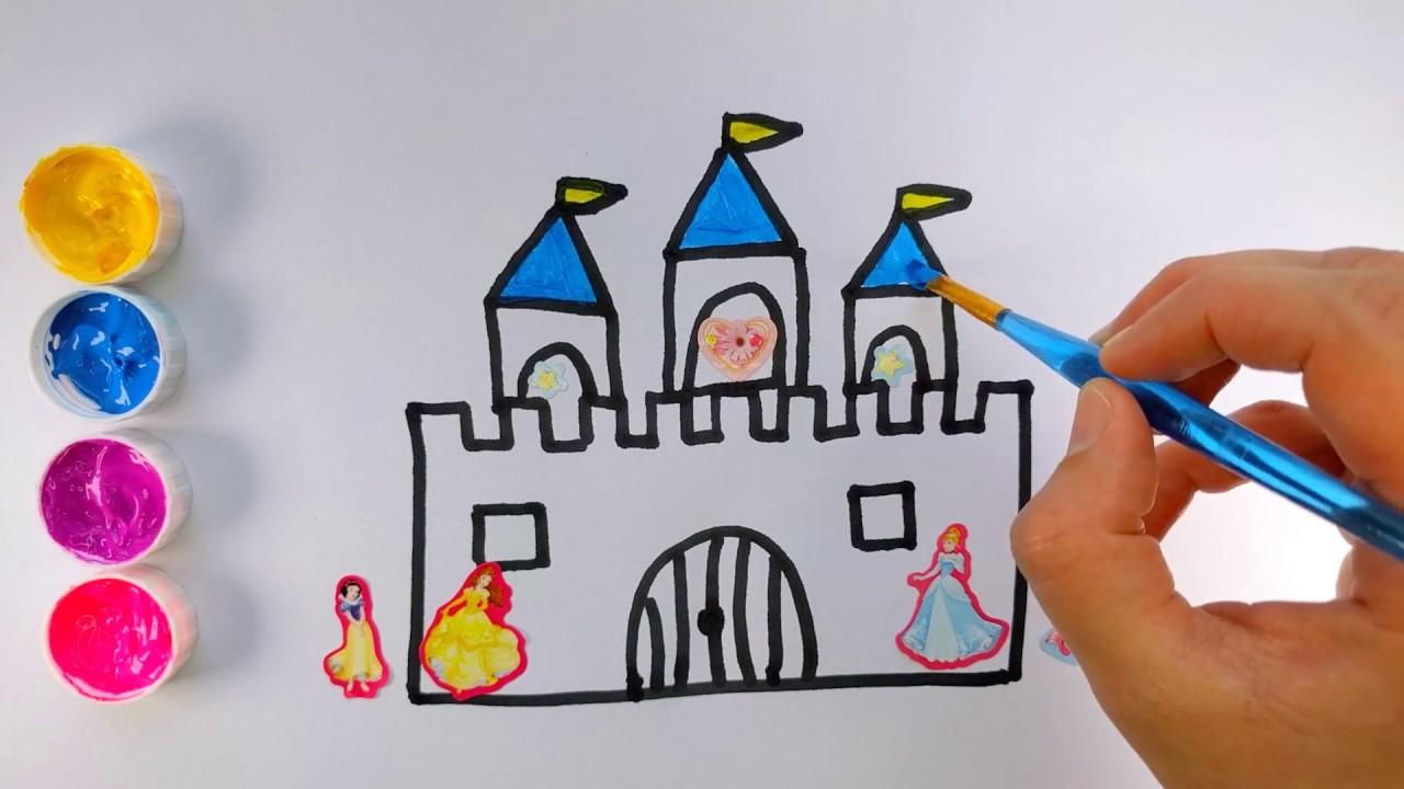 Como dibujar y colorear un CASTILLO DE PRINCESAS con calcomanías ...