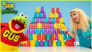 Giant Cup Tower Challenge ! Winner gets Surprise Toy