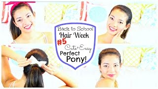 CUTE + EASY PERFECT PONY TAIL♡ Back To School Hair Week ♡ 50 VoSummer Thumbnail