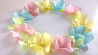 【折り紙】ふわふわカールの花で作るパステルカラーリース Paper Flower Wreath
