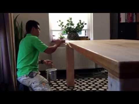 Renovatie van een eiken tafel met jetfinish k natur een