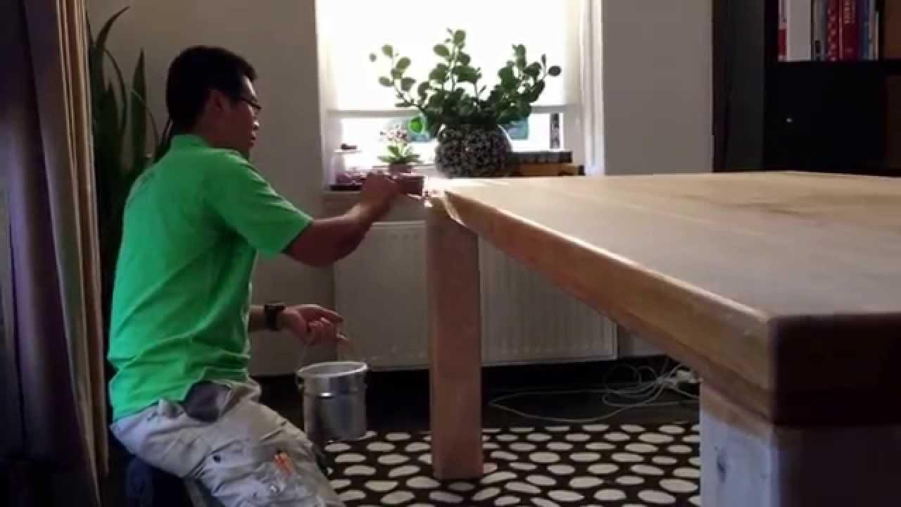 Renovatie van een eiken tafel met jetfinish 2k natur een