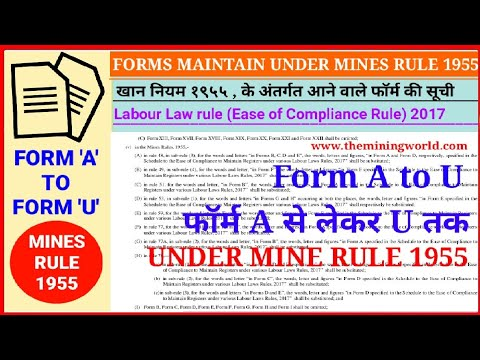 List of Forms under MINES RULE 1955 || MINING WORLD