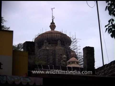 Restoration of Lingaraj Temple underway in Bhubaneshwar, Orissa