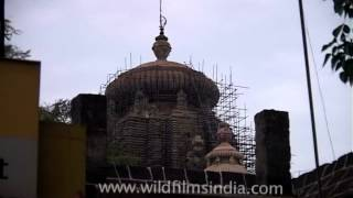 Restoration of Lingaraj Temple underway in Bhubaneshwar, Orissa