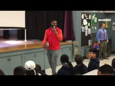 Cleveland Browns player George Atkinson III spoke to Taylor school students on Friday.