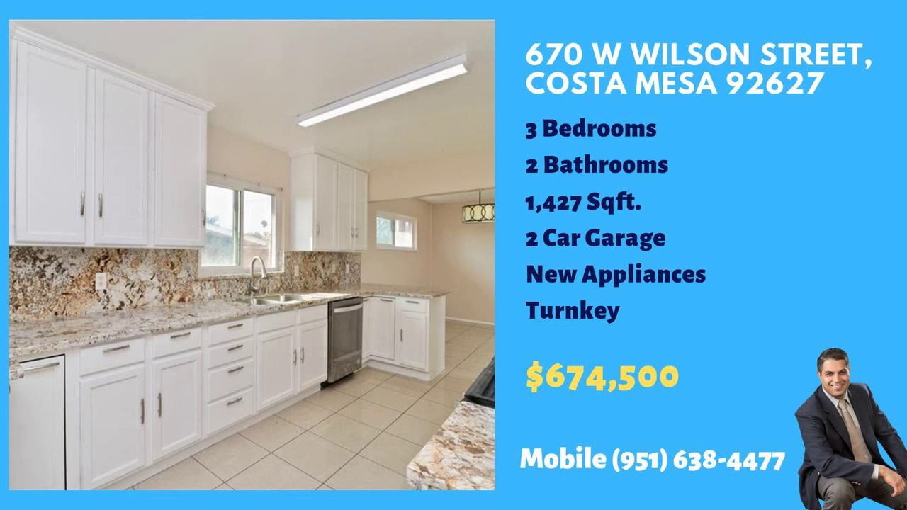 Turnkey 3 bed 2 bath homes for sale in Costa Mesa on