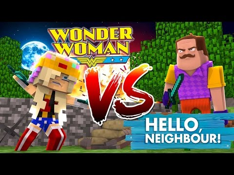 BABY LEAH BECOMES WONDER WOMAN & FIGHTS THE HELLO NEIGHBOUR!!!Baby Leah Minecraft Adventures!
