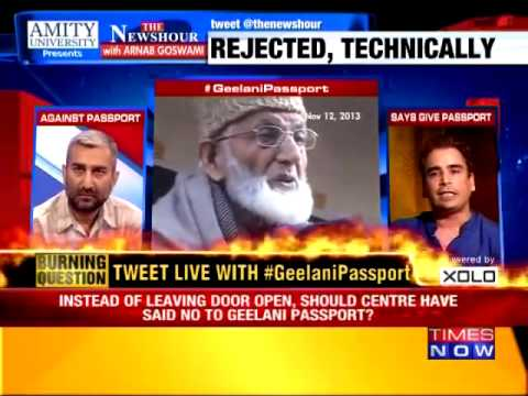Geelani Passport  Form excuse, loyalty no criteria    The Newshour Debate 21st may 2015