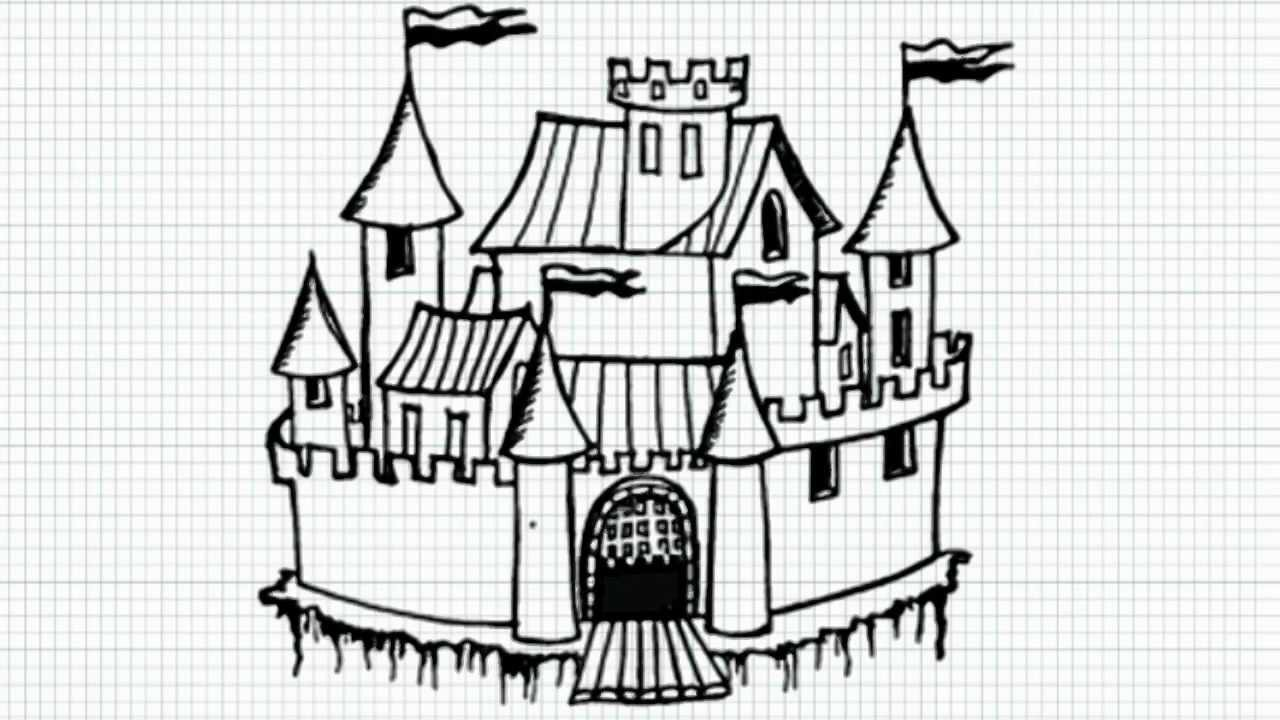 how to draw cartoon castle video youtube