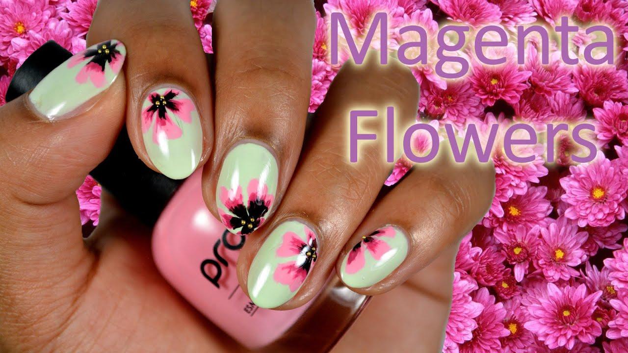 DIY Easy Magenta Flowers Nail Art - YouTube