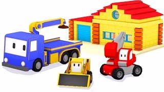 Dom – naucz się kształtów i kolorów Z Małymi Samochodzikami: buldożer, dźwig, koparka| bajka edukacy
