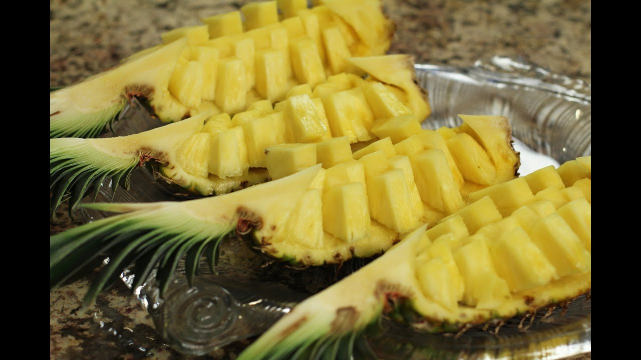 How To Cut A Pineapple Fruit Display Easily In 6 min. by