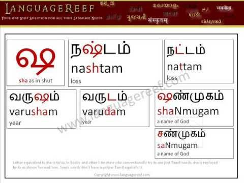 Learn Sanskrit Letters In Tamil/Vada Mozhi Sotrkal/Modern