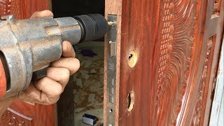 Amazing Excellent Skill Of The Carpenter - How To Installation A New Wood Door Lock