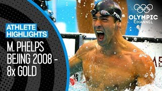 Michael Phelps - All EIGHT Gold Medal Races at Bejing 2008! | Athlete Highlights