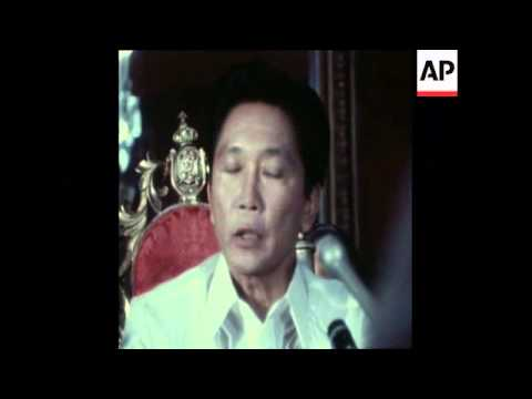 SYND 2 3 75 PRESIDENT FERDINAND MARCOS OF THE PHILIPPINES HOLDS PRESS CONFERENCE