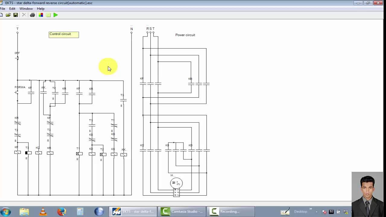 star delta wiring diagram control 1994 dodge dakota headlight three phase motor circuit [star forward reverse automatic circuit] - youtube