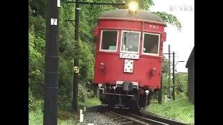 名鉄 谷汲線③  独特な踏切音 雨上がりの水鏡の水田 モ750形電車 犬も吠えるのどかな路線 2001 DV513