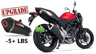 Suzuki SV650 Scorpion Exhaust Upgrade with Weight and Sound Comparison