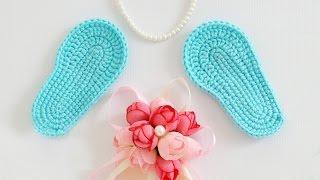 ♥ Вяжем крючком пинетки Часть 1 - Подошвы ♥ Crochet booties Tutorial 1 ♥ Crochetka Design DIY♥
