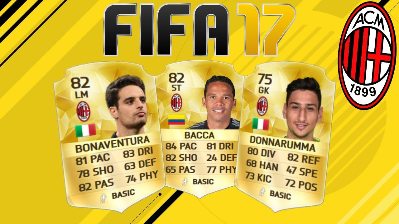 Fifa 17 ac milan rating predictions youtube for Fifa 17 milan