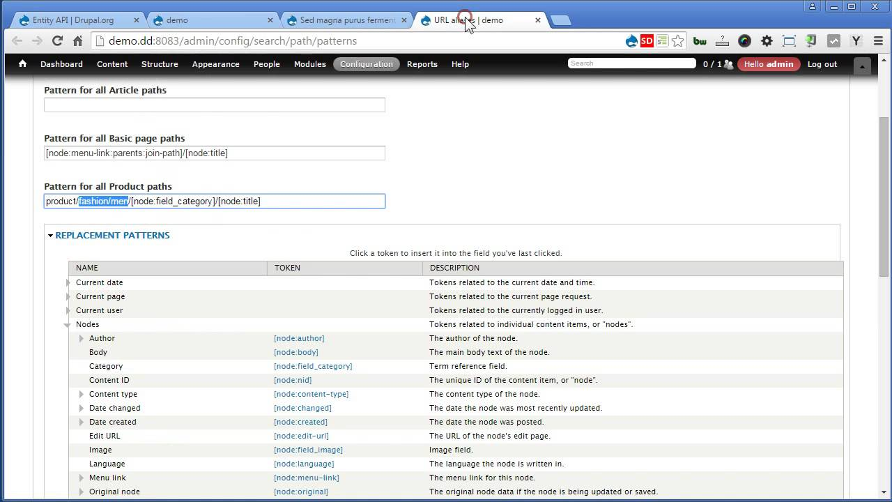 Pathauto | Drupal 7 - Part 2: Pattern for Term reference field