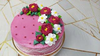 Торт для мужчины с кремовыми цветами