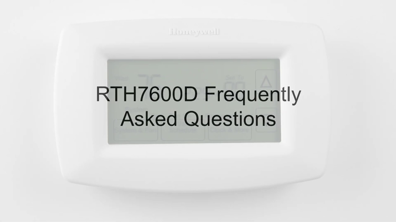 Rth7600d 7 Day Programmable Thermostat Frequently Asked Questions Youtube