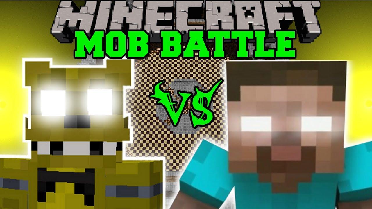 GOLDEN FREDDY VS HEROBRINE - Minecraft Mob Battles ...