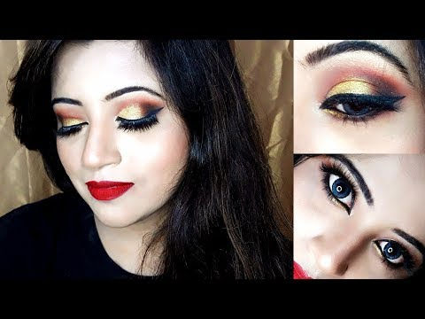 gold-eyeshadow-tutorial-|-gold-smokey-eyes-classic-red-lips-|-eye-makeup-|-2018