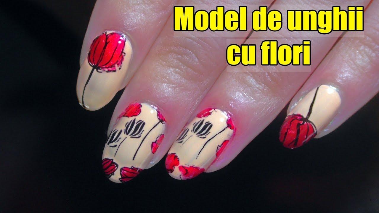 Model De Unghii Cu Flori Floricele De Primavara Lalele Youtube