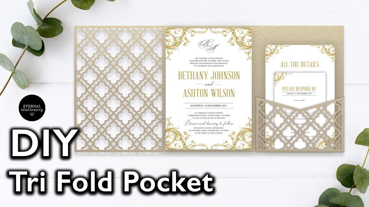 Diy Laser Cut Pocket Invitation Diy Wedding Invitations Make Your Own Wedding Invitations Youtube