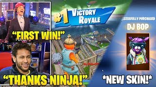 NINJA Gets Neymar HIS First Win & React TO *NEW* 'DJ Bop' Skin! *LEGENDARY* (Fortnite FUNNY Moments)