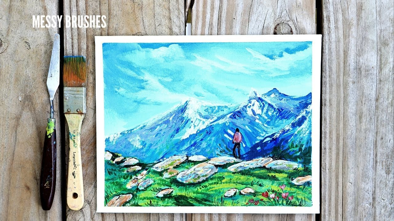 Daily relaxing Art #33 |Acrylic Painting mountain Landscape STEP by STEP tutorial| ASMR (2020)