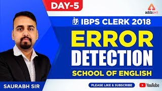 IBPS CLERK | Error Detection | Day 5 | School Of English By Saurabh Sir | Saurabh Sir  - 4:45 P.M.