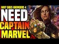 Why  Do The Avengers NEED Captain Marvel In Avengers 4 ( Small Role Theory )