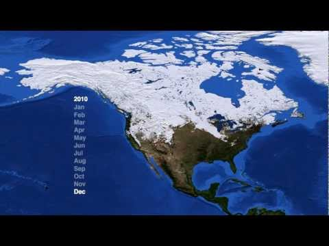 North America Snow Cover (2009-2012) [1080p] [3D Converted]