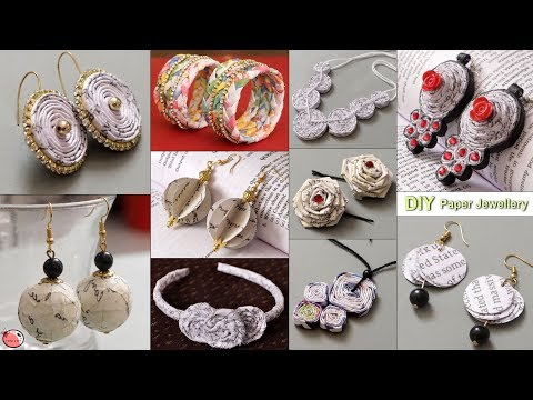11 Extra Beautiful Waste Paper Jewelry Making At Home !!! Handmade