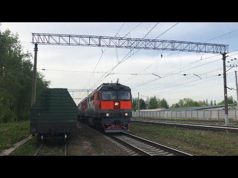 Сплотка Тепловозов ТЭП70 - 0270 / ТЭП70 - 0246 с Пассажирским Поездом