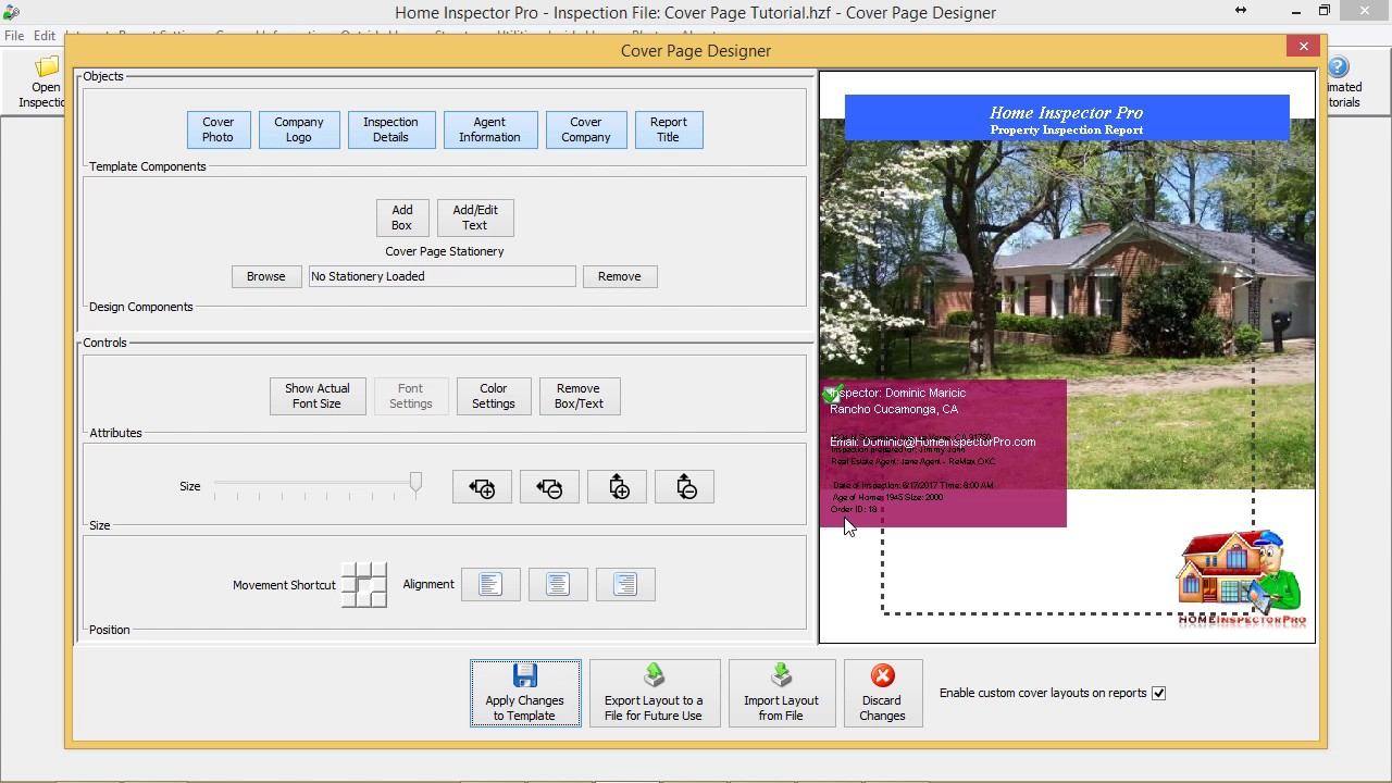 Home Inspector Pro Inspection Software - Cover Page Designer - YouTube
