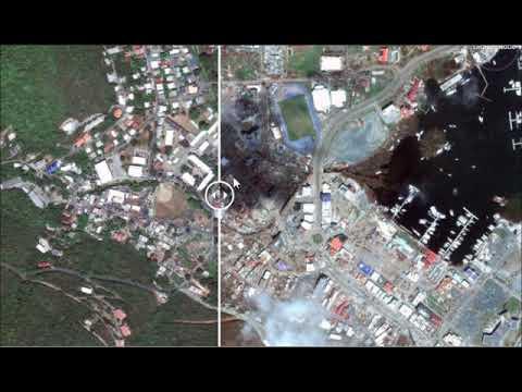 Hurricane Irma before and after , Road Town, Tortola, British Virgin Islands, Satellite images