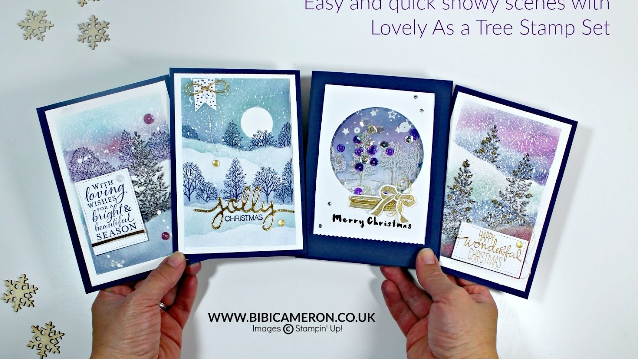 Snowy scenes for Christmas Cards - Lovely As a Tree Stampin Up - YouTube