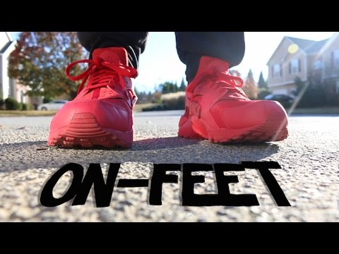 9c5ee7873fdc ... coupon for nike air huarache triple red on feet youtube 92e28 97e64 ...