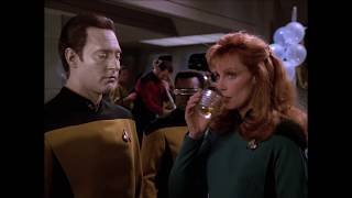 Riker is having a time of his life at Geordi and Ro funeral.