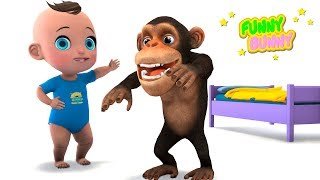 Funny Monkey and Baby in the morning doing gymnastics